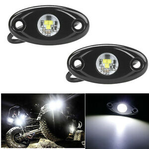 """2X 9W 2"""" White CREE LED Rock Light Bar Wheel RV For Jeep Truck SUV Off-Road Boat"""