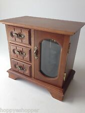 Vintage wood jewelry box glass floral door ring drawers necklace carousel 70s