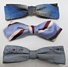 Vintage Mens Bow Tie Lot of 3 Ever Grip Tite USA Rust Resist Blue Brown White