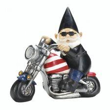 Harley Garden Gnome Solar Statue Motorcycle Light Up Figurine Yard Patriotic Man