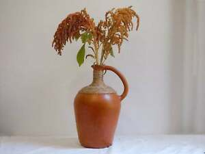 Vintage Hand Made African Clay Water Jug with Straw and Handle
