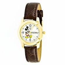 Disney Childrens MCK612 Mickey Mouse Brown Leather Strap Watch