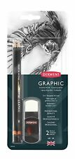 Derwent Artists Graphic Pencil & 2 in 1 Sharpener Eraser Set