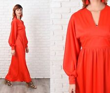 Vintage 70s Red Bold Maxi Dress Full Party Cocktail A Line Boho XS