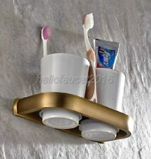 Antique Brass Ceramic Double Cup Toothbrush Holder Bathroom Accessories Lba177