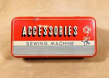 Vintage Tin Sewing Accessories Box Red Hinged
