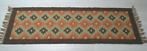 Kilim Runner Rug Wool Indian 60x180cm 2x6' Kelim Orange Green Style MEXICO