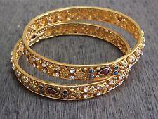 2 Designer Filigree Pattern Polki CZ Bangle Bracelet Bridal Jewelry 2.10 NR