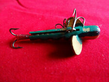 A NICE VINTAGE PAINTED BRASS SLOTTED MINNOW WITH MOUNT POSSIBLY FRENCH