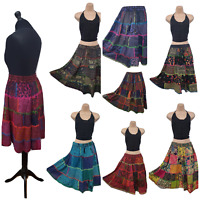 Patchwork Skirt Knee Length Rayon Summer Casual Hand Embroidered Size 8 10 12 14