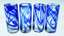 Mexican Shot Glasses, Blue Swirl (4) hand blown for tequila shot, 2 oz