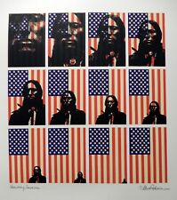 "B. MARTIN PEDERSEN - ""VANISHING AMERICAN "" Native American and Flag - SERIGRAPH"