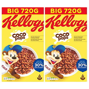 Kellogg's Coco Pops Chocolate Flavour Crunchy Breakfast Cereal 720g 1 or 2 Boxes
