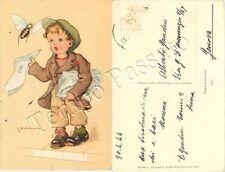 Bambino venditore di giornali e vespa - 1944 / illustratore Duka