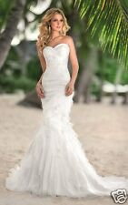 New Strapless Sweetheart Beach Mermaid Chiffon Wedding Dress Gown Custom Size