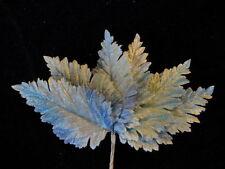 """Vintage Millinery Flower 3 1/2"""" Lt Blue Shades Velvet Leaf Lot 6p Hat + Hair Z38"""