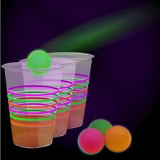 Black Light Party Set Glow In the Dark 24 Cups Neon Beer Pong Game Drinking Gift