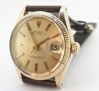 .Vintage 1970 Rolex Oyster Date 14k Gold Auto cal 1570 Mens Watch Ref 1503 +Box