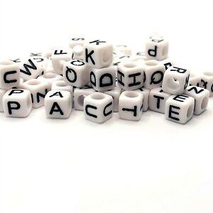 200 BULK pcs White and Black Alphabet Letter Block Beads -US Seller- WH257