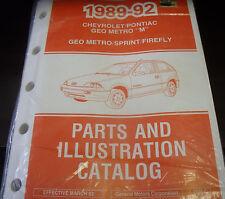 1989 90 91 92 Chev Pontiac Firefly Metro Sprint Parts/Illustrations Book 15MC
