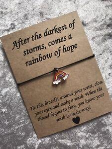 🌈 Rainbow Of Hope Missing You friendship Wish bracelet/anklet Gift Present 🌈