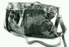 "Aqua madonna purse cow hide black 14.5""x20"" real animal fur w cross body strap"