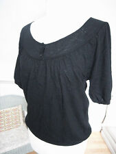 Uniqlo black wool cashmere half sleeve soft thin light weight knit top S-M