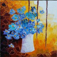 Grande toile de Nolac 50X50 cm tableau peinture couteau lueurs et bouquet bleu