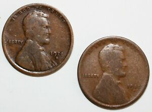 2 Coin Lot 1911 S & D Lincoln Wheat Cents Coins 1c US Pennies Good & Very Good