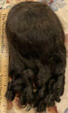 """#46 12"""" Vintage Brown Older Synthetic Doll Wig For Antique Bisque Doll"""