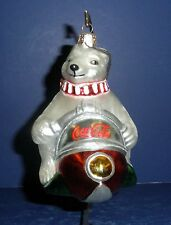 Polonaise Glass Ornament: Coke Bear on Snowmobile, GP802, New in Box