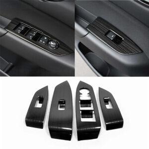 4P Black Titanium Window Switch Panel Frame Cover Trim For Mazda CX-5 2017-2020