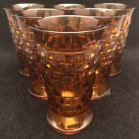 Indiana Glass Amber Whitehall Cubist Footed Tumblers Set of 6 USA