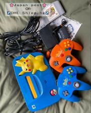 Nintendo 64 Console Pokemon Pikachu Limited Blue! With Smash Bros. software!!