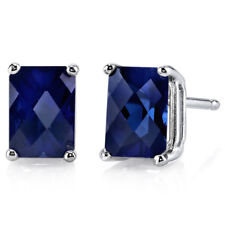 14K 14ct White Gold 1.8 Ct Lab Blue Sapphire Stud Earrings Radiant 7x5mm
