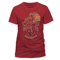 Official Harry Potter Gryffindor Distressed Crest T Shirt Red NEW S M L XL