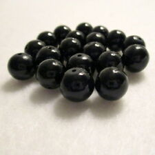 40 Black Pearl Round Glass Beads, 10mm, Jewelry Making Supplies, Beads