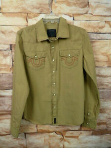 True Religion Size XL  Shirt Boys  Green Pearl Snap Button Up Western J-58