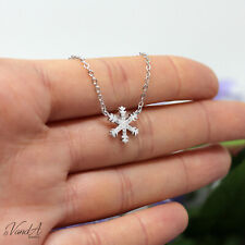 Sterling Silver 925 Snowflake CZ Pendant Necklace Cute Christmas CZ Jewelry N148