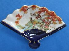 Satsuma Vintage Ceramic Fan Shaped Dish Gold Trim Flowers & Bird  -Japan