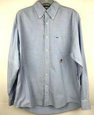 Vintage 90s TOMMY HILFIGER Mens Shirt Medium Blue Long Sleeve Button Down Collar