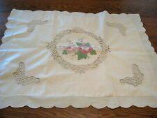1 Vintage Ivory 100% Cotton Sham w/ Roses Design & Battenburg Lace - Standard