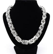 Hip-Hop Mens  Necklace Square Byzantine Chain Stainless steel Jewelry 5/9/12mm