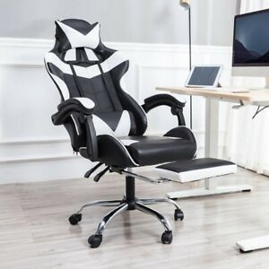 PC Gaming Chair Swivel High Back Ergonomic Racing Leather Office White/Black