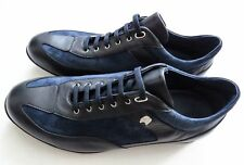 $1640 STEFANO RICCI Blue Leather Suede Sneakers Shoes 11.5 US 44.5 Euro 10.5 UK