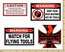 Funny Warning Stickers - Complete set of 4 Decals - Sexy Girl Tool Box MADE USA