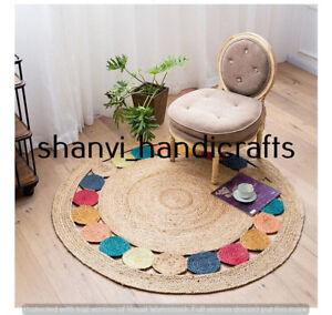 Indien Handmade Rug Round Jute Rug Braided Natural Rag Rug 4 Feet Home Decor Rug