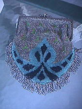 Antique Art Deco Beaded Fringe Purse Gold Silver Kisslock Bag