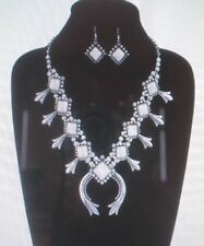 best seller white stone navajo style squash blossom necklace & earrings