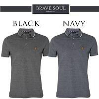 Mens Brave Soul Dhalia Classic Pique Short Sleeve Polo Shirt 100% Cotton Top